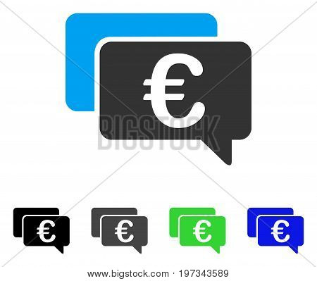 Euro Messages flat vector pictogram. Colored euro messages gray, black, blue, green icon versions. Flat icon style for application design.