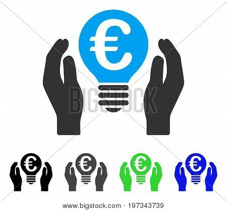 Euro Patent Care flat vector pictograph. Colored euro patent care gray, black, blue, green icon variants. Flat icon style for web design.