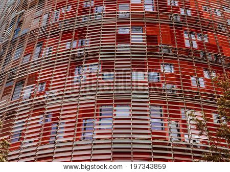 Modern skyscraper building wall, Barcelona, Spain. Tower Torre Agbar skyscraper