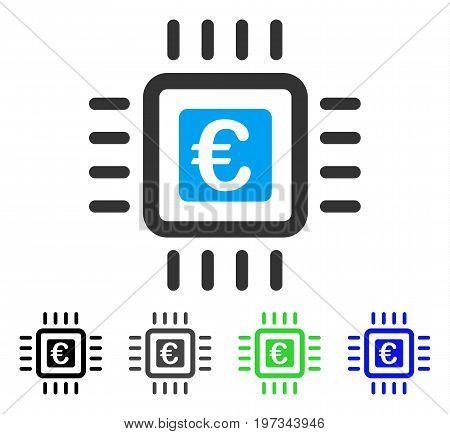Euro Processor flat vector icon. Colored euro processor gray, black, blue, green pictogram versions. Flat icon style for graphic design.