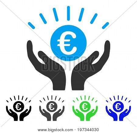 Euro Prosperity flat vector illustration. Colored euro prosperity gray, black, blue, green icon versions. Flat icon style for graphic design.