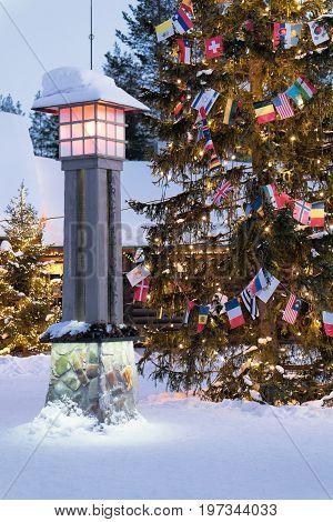 Arctic Circle Lantern In Santa Village In Lapland Scandinavia
