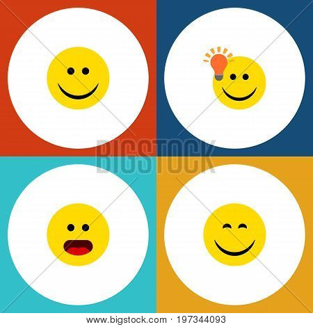 Flat Icon Expression Set Of Wonder, Have An Good Opinion, Joy And Other Vector Objects