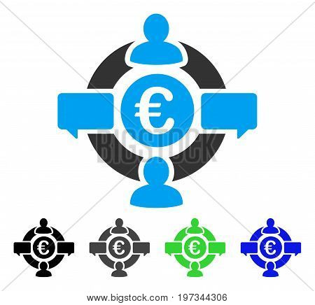 Euro Social Network flat vector icon. Colored euro social network gray, black, blue, green icon versions. Flat icon style for graphic design.
