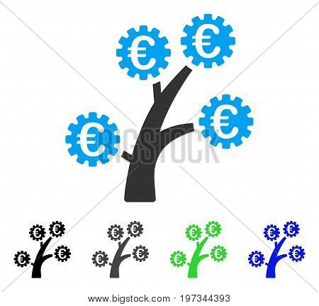 Euro Technology Tree flat vector icon. Colored euro technology tree gray, black, blue, green pictogram versions. Flat icon style for application design.