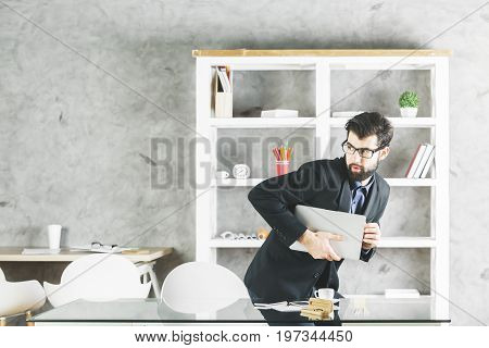 Suspicious Man With Laptop
