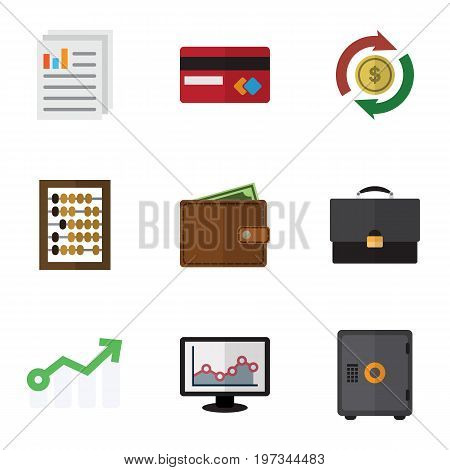 Flat Icon Gain Set Of Document, Portfolio, Strongbox And Other Vector Objects