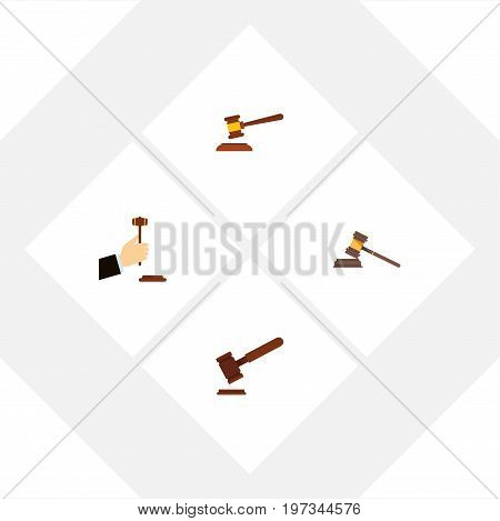 Flat Icon Hammer Set Of Court, Justice, Hammer And Other Vector Objects