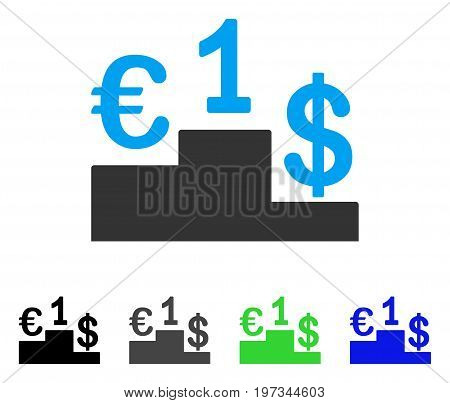 Currency Competition flat vector pictogram. Colored currency competition gray, black, blue, green pictogram variants. Flat icon style for application design.