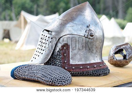 Metal historical helmet for head protection, iron helmet, re-enactors, Vikings