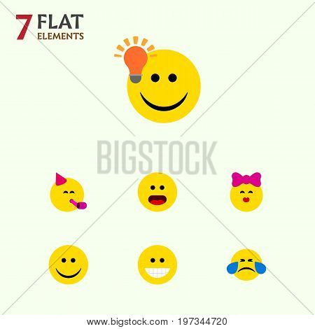 Flat Icon Expression Set Of Grin, Joy, Cold Sweat And Other Vector Objects