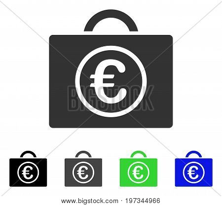 Euro Baggage flat vector illustration. Colored euro baggage gray, black, blue, green icon versions. Flat icon style for web design.