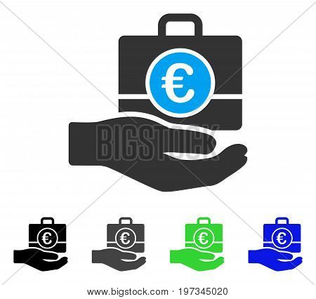 Euro Banking Service Hand flat vector icon. Colored euro banking service hand gray, black, blue, green pictogram versions. Flat icon style for graphic design.