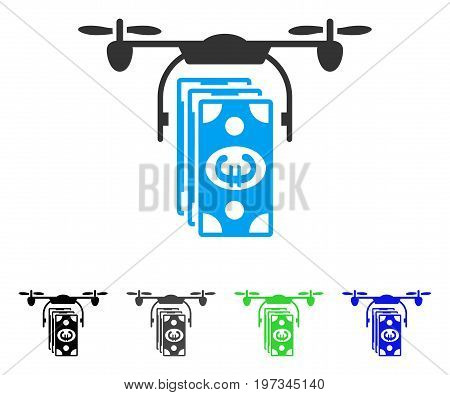 Euro Banknotes Drone flat vector pictograph. Colored euro banknotes drone gray, black, blue, green icon variants. Flat icon style for graphic design.