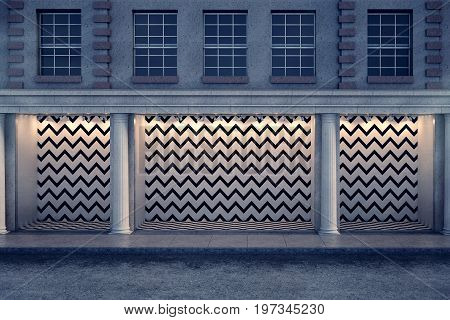 Front view of blank zigzag patterned storefront with columns in night city. Advertising and trade concept. Mock up 3D Rendering