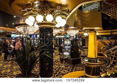 CRUISE LINER SPLENDIDA - JULY 25, 2017: Gaming casino Cruise liner Splendida