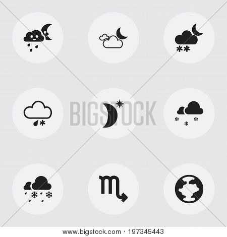 Set Of 9 Editable Weather Icons. Includes Symbols Such As Night Sky, Sleet, Hailstorm And More