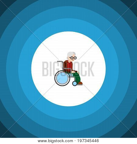Wheelchair Vector Element Can Be Used For Wheelchair, Handicapped, Man Design Concept.  Isolated Handicapped Man Flat Icon.