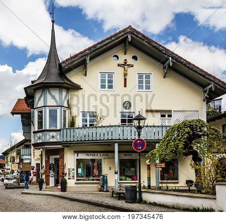 Bavaria, Germany - July 7, 2017: Small church in village Oberammergau