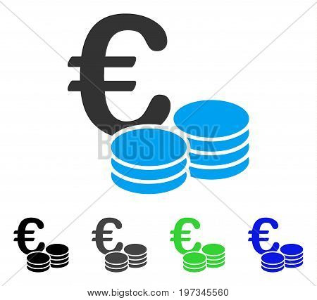 Euro Coin Stacks flat vector pictogram. Colored euro coin stacks gray, black, blue, green pictogram versions. Flat icon style for graphic design.