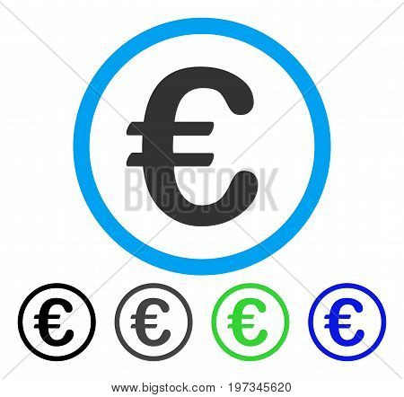 Euro Coin flat vector icon. Colored euro coin gray, black, blue, green pictogram variants. Flat icon style for graphic design.