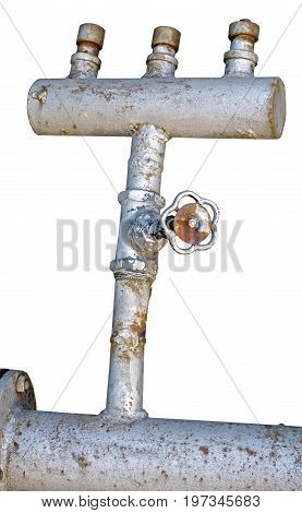 the industrial pipes on a white background