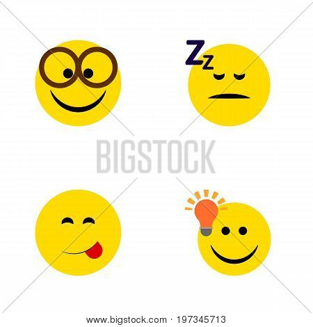 Flat Icon Gesture Set Of Pleasant, Asleep, Have An Good Opinion And Other Vector Objects