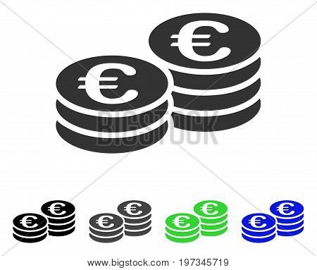 Euro Coins flat vector pictograph. Colored euro coins gray, black, blue, green icon variants. Flat icon style for application design.