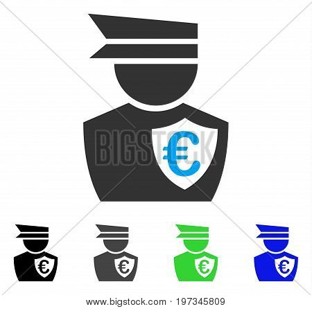 Euro Commissioner flat vector pictogram. Colored euro commissioner gray, black, blue, green pictogram variants. Flat icon style for graphic design.