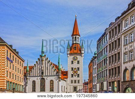Munich, Germany - July 9, 2017: Town tower and church Marienplatz, Munich, Germany