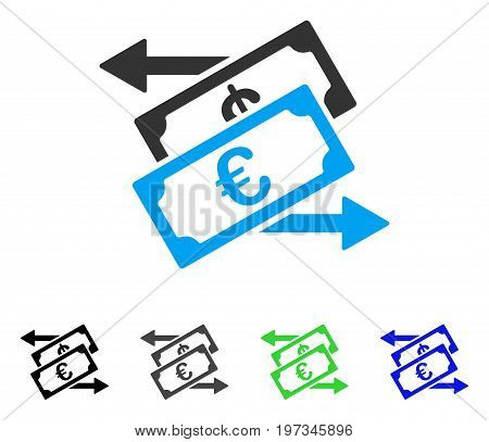 Euro Currency Exchange flat vector pictogram. Colored euro currency exchange gray, black, blue, green icon versions. Flat icon style for application design.