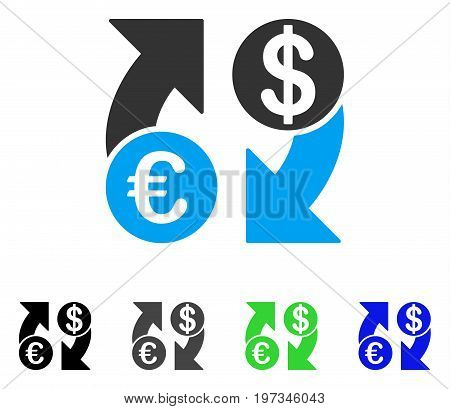 Euro Dollar Exchange Arrows flat vector icon. Colored euro dollar exchange arrows gray, black, blue, green pictogram versions. Flat icon style for application design.