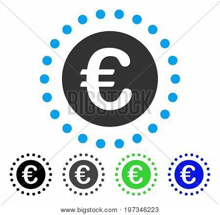Euro Gold Coin flat vector icon. Colored euro gold coin gray, black, blue, green pictogram variants. Flat icon style for application design.