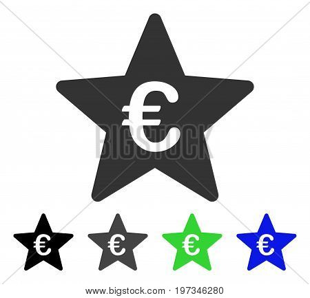 Euro Hit Parade Star flat vector illustration. Colored euro hit parade star gray, black, blue, green pictogram versions. Flat icon style for web design.
