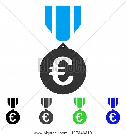 Euro Honor Medal flat vector icon. Colored euro honor medal gray, black, blue, green icon versions. Flat icon style for graphic design.