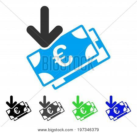 Euro Income Banknotes flat vector icon. Colored euro income banknotes gray, black, blue, green icon versions. Flat icon style for web design.
