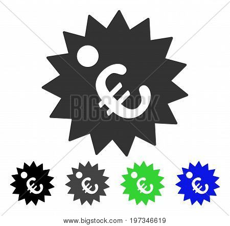 Euro Price Tag flat vector pictograph. Colored euro price tag gray, black, blue, green icon variants. Flat icon style for web design.