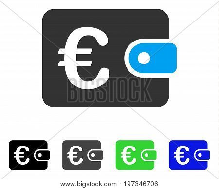 Euro Purse flat vector icon. Colored euro purse gray, black, blue, green pictogram variants. Flat icon style for graphic design.