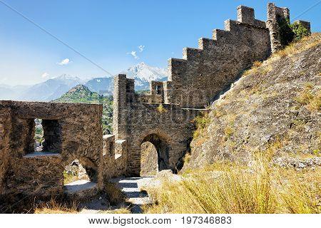 Ruins Of Tourbillon Castle At Sion Capital Valais Switzerland