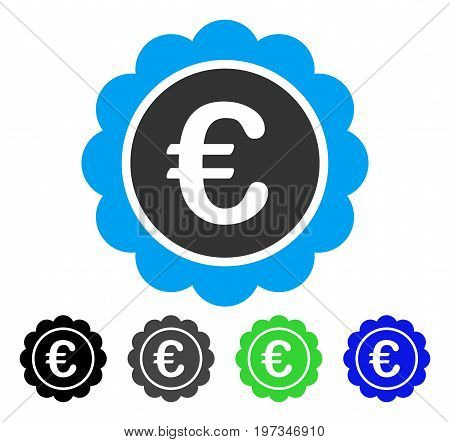 Euro Reward Seal flat vector icon. Colored euro reward seal gray, black, blue, green icon versions. Flat icon style for application design.