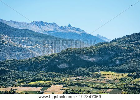 Landscape In Sion With Bernese Alps Mountains Capital Valais Switzerland