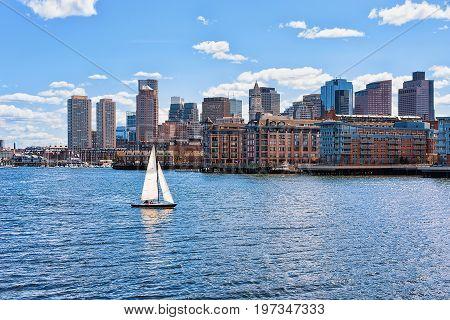 Sailboat With The Skyline Boston Ma America