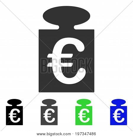 Euro Weight flat vector pictograph. Colored euro weight gray, black, blue, green pictogram versions. Flat icon style for web design.