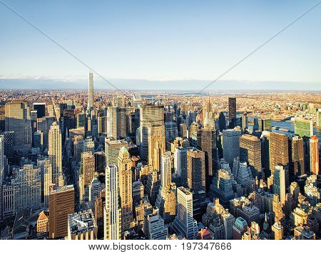 Aerial View Of Midtown Manhattan Ny America