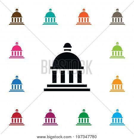 Court Vector Element Can Be Used For Bank, Court, Building Design Concept.  Isolated Bank Icon.