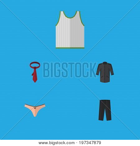 Flat Icon Garment Set Of Uniform, Lingerie, Cravat And Other Vector Objects