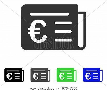 Euro Banking News flat vector pictogram. Colored euro banking news gray, black, blue, green icon variants. Flat icon style for application design.