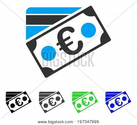 Euro Banknote And Credit Card flat vector pictogram. Colored euro banknote and credit card gray, black, blue, green icon versions. Flat icon style for application design.