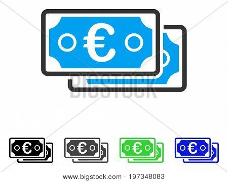 Euro Banknotes flat vector pictogram. Colored euro banknotes gray, black, blue, green pictogram versions. Flat icon style for application design.