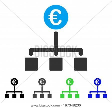 Euro Cash Flow flat vector pictogram. Colored euro cash flow gray, black, blue, green pictogram variants. Flat icon style for web design.